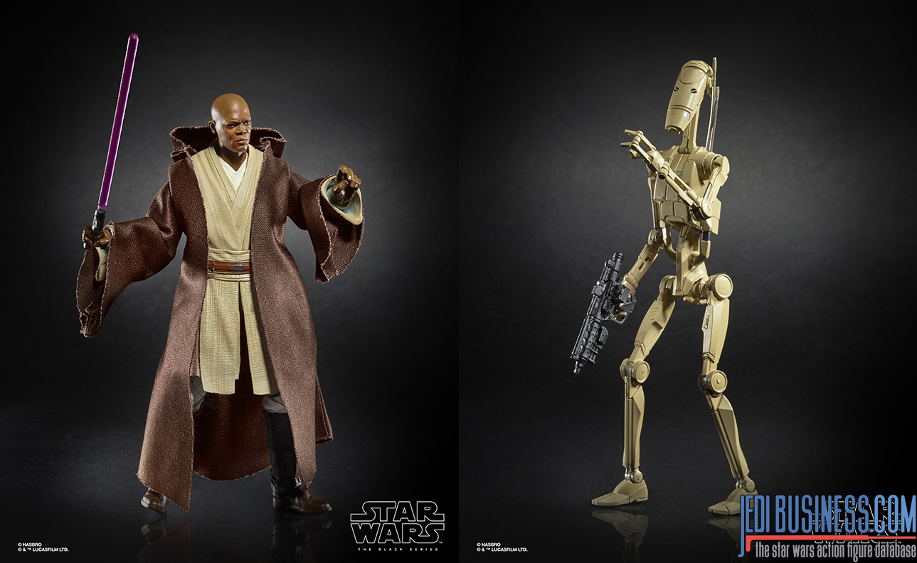 Black Series Battle Droid and Mace Windu