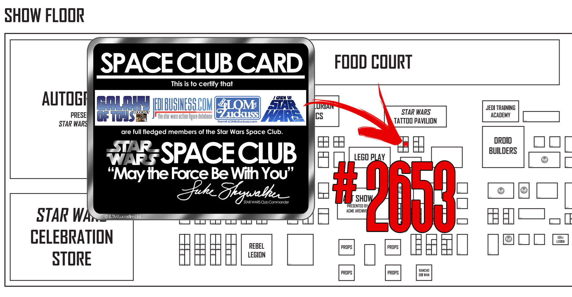 Star Wars Space Club location for Star Wars Celebration Orlando